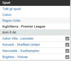 Betfair.it - Homepage Premier League