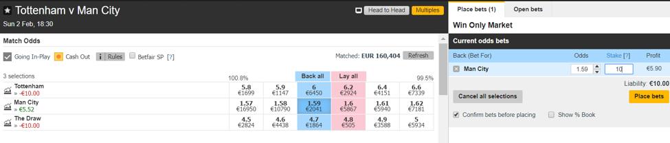 Tottenham vs. Manchester City - Esito Finale - Back 2