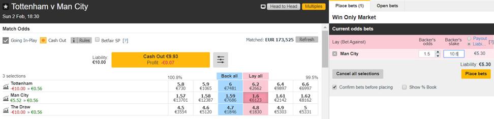 Tottenham vs. Manchester City - Esito Finale - Lay 2 a 1.50 All green