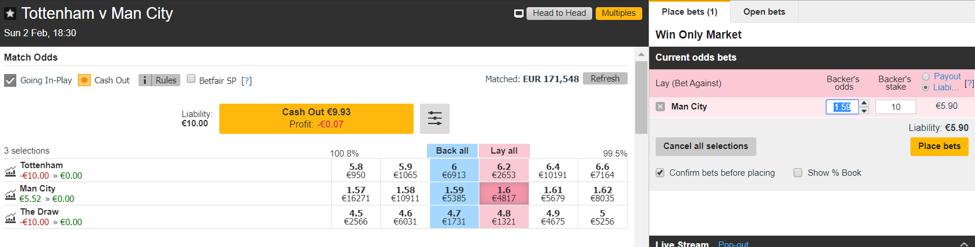 Tottenham vs. Manchester City - Esito Finale - Lay 2 a 1.59