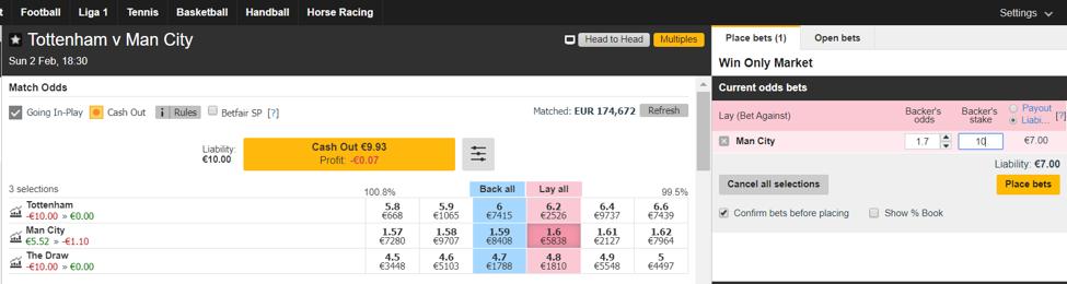 Tottenham vs. Manchester City - Esito Finale - Lay 2 a 1.70
