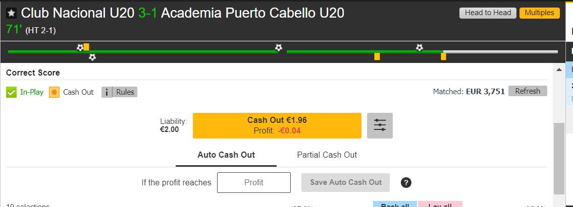 Club National vs. Academia Puerto Cabello - Esito Finale - Cash Out